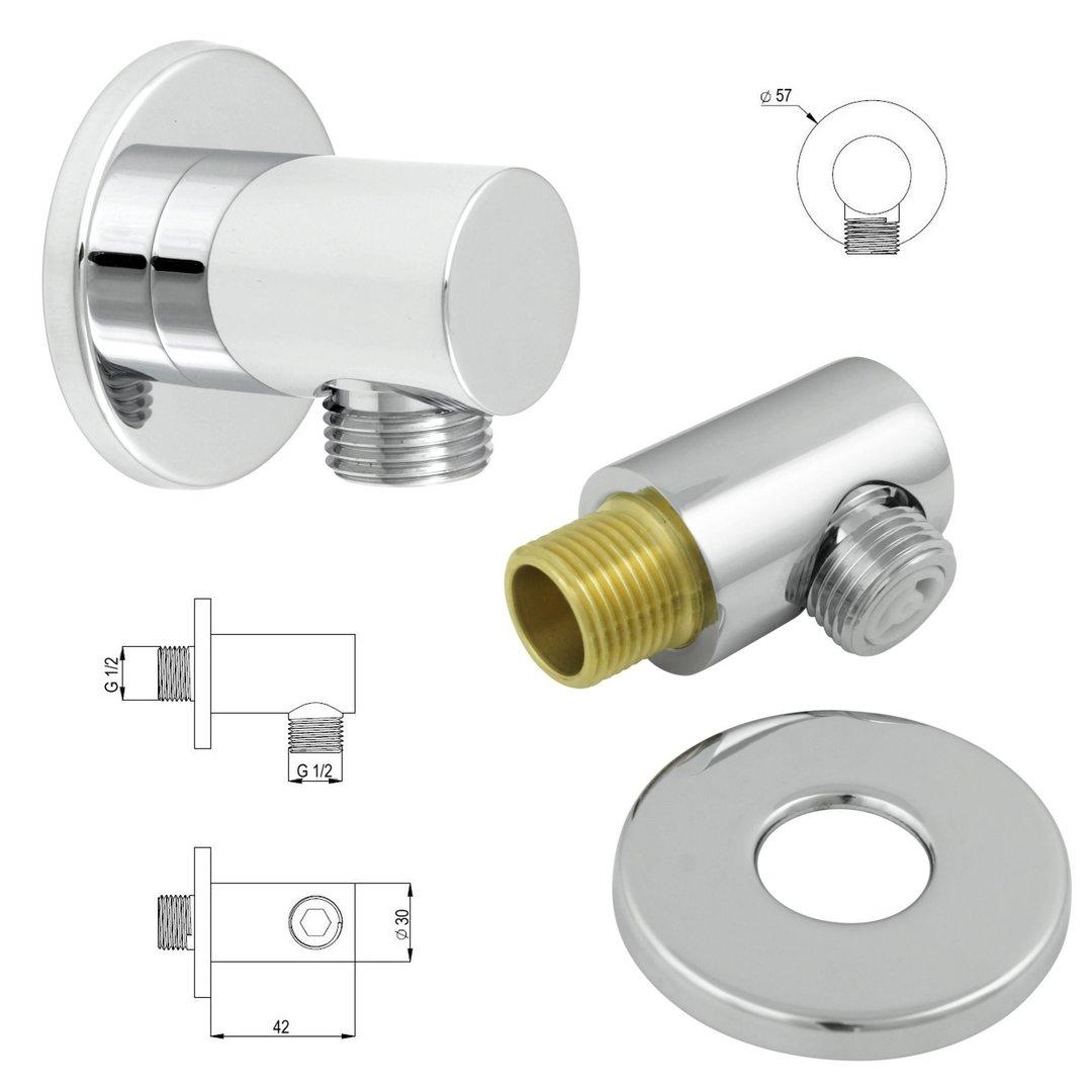Welfenstein Thermostat Unterputz Set Regendusche 40cm alles Metall T10-40HC13E